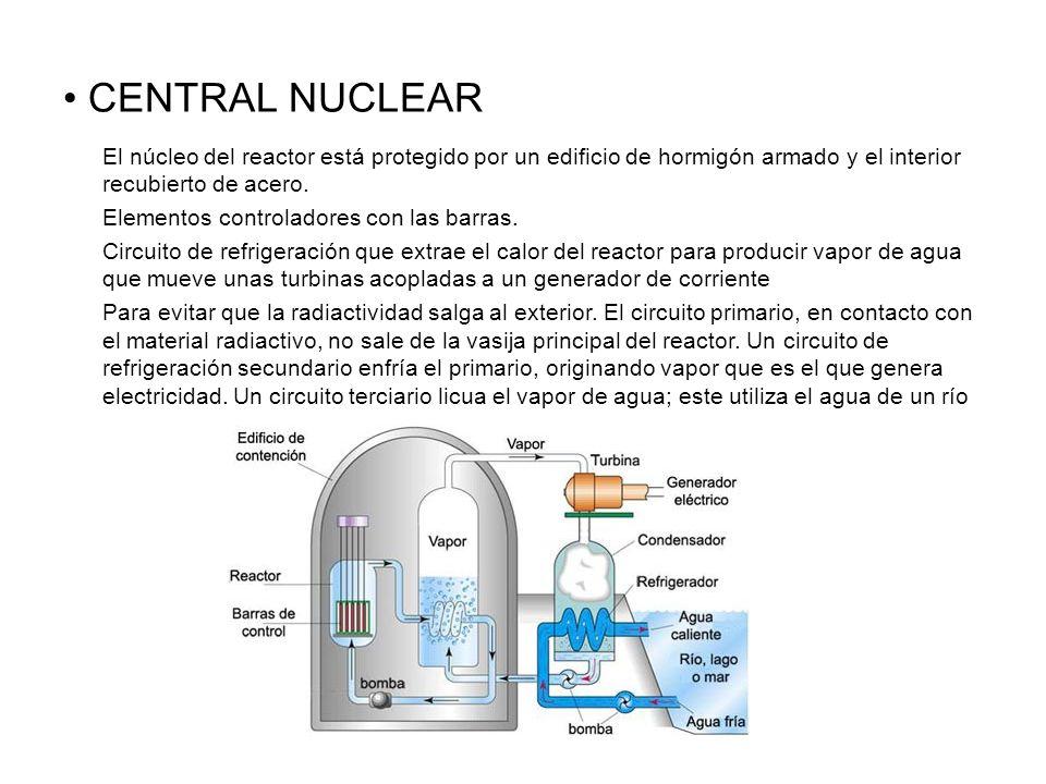CENTRAL NUCLEAR El núcleo del reactor está protegido por un edificio de hormigón armado y el interior recubierto de acero.