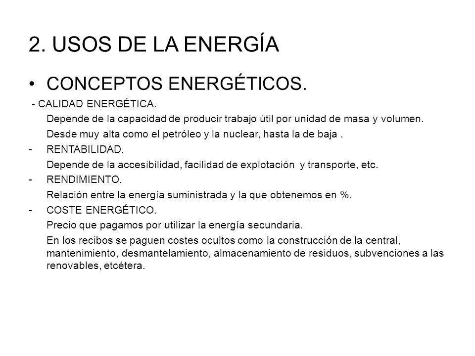 2.USOS DE LA ENERGÍA CONCEPTOS ENERGÉTICOS. - CALIDAD ENERGÉTICA.