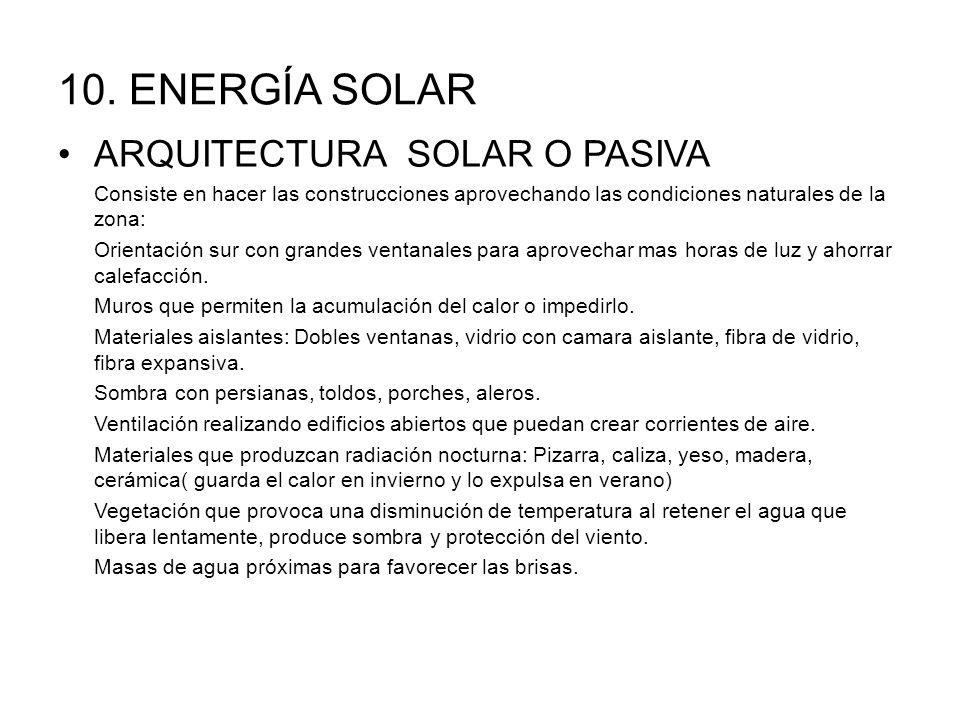 10. ENERGÍA SOLAR ARQUITECTURA SOLAR O PASIVA Consiste en hacer las construcciones aprovechando las condiciones naturales de la zona: Orientación sur