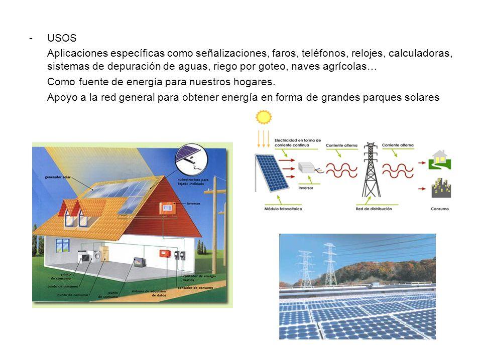 -USOS Aplicaciones específicas como señalizaciones, faros, teléfonos, relojes, calculadoras, sistemas de depuración de aguas, riego por goteo, naves agrícolas… Como fuente de energia para nuestros hogares.