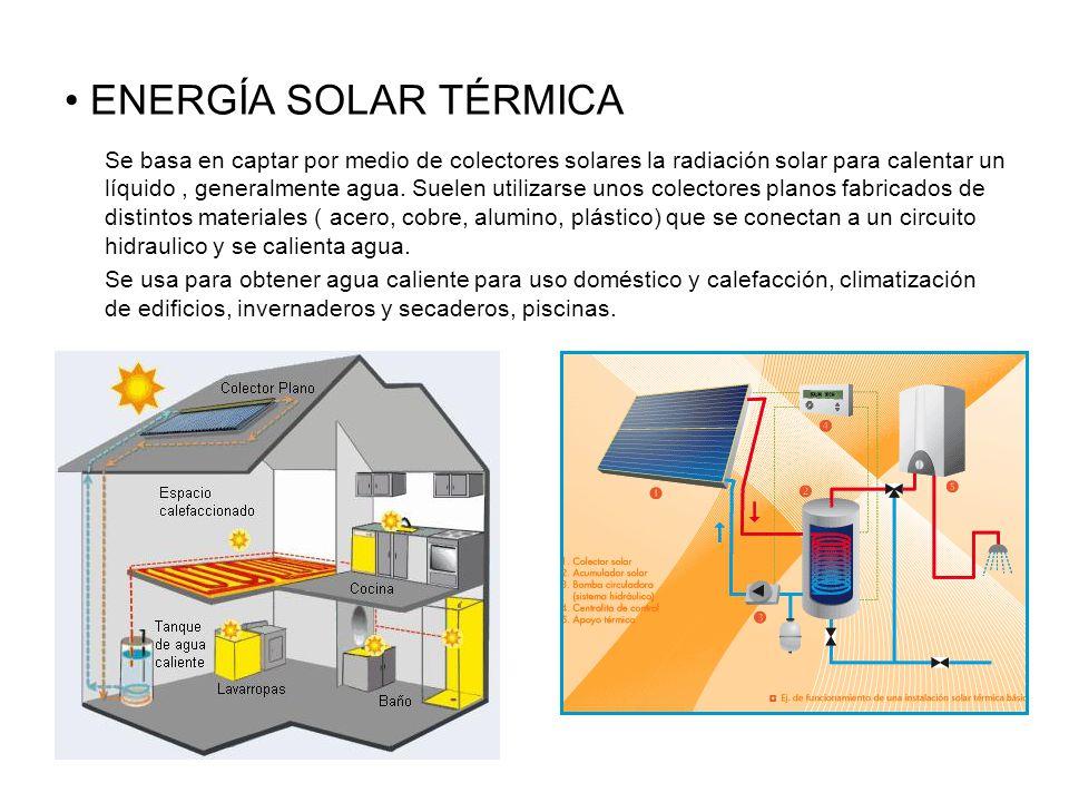 ENERGÍA SOLAR TÉRMICA Se basa en captar por medio de colectores solares la radiación solar para calentar un líquido, generalmente agua.