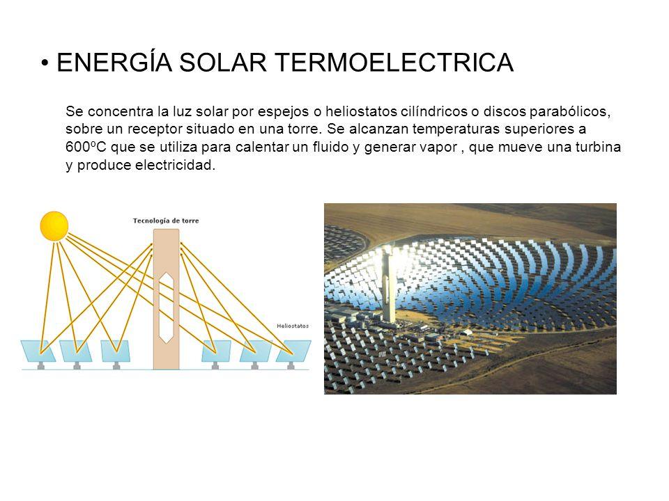 ENERGÍA SOLAR TERMOELECTRICA Se concentra la luz solar por espejos o heliostatos cilíndricos o discos parabólicos, sobre un receptor situado en una torre.