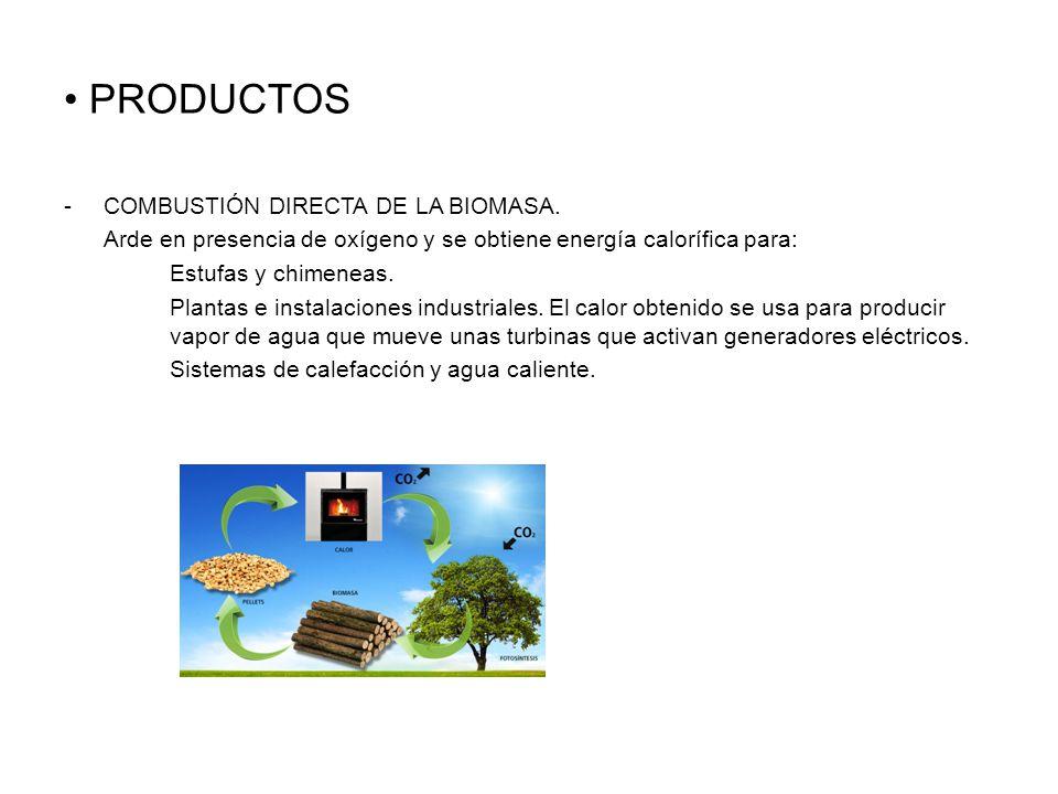 PRODUCTOS -COMBUSTIÓN DIRECTA DE LA BIOMASA.