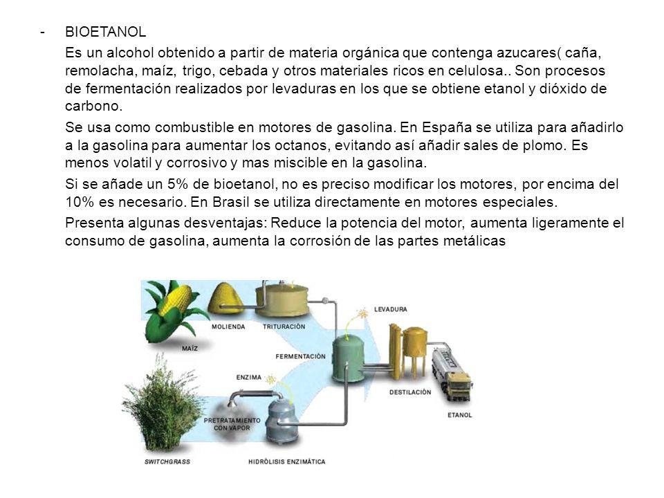 -BIOETANOL Es un alcohol obtenido a partir de materia orgánica que contenga azucares( caña, remolacha, maíz, trigo, cebada y otros materiales ricos en celulosa..