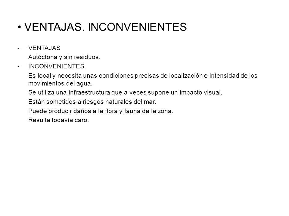 VENTAJAS.INCONVENIENTES -VENTAJAS Autóctona y sin residuos.