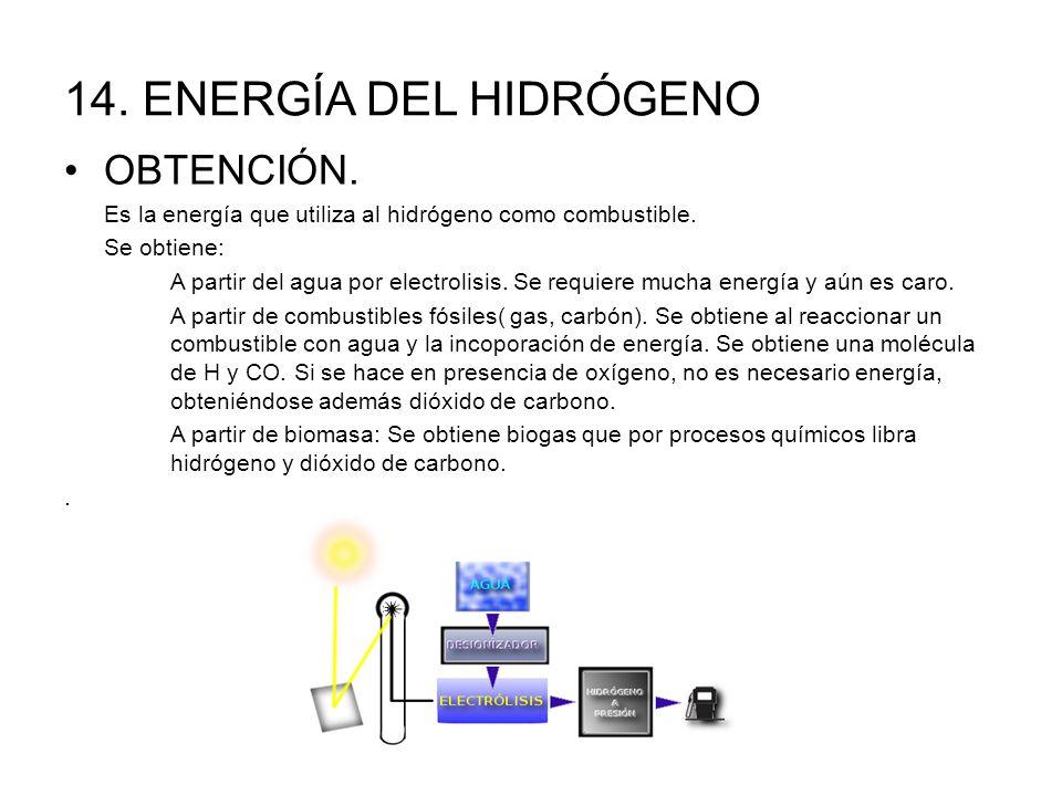 14.ENERGÍA DEL HIDRÓGENO OBTENCIÓN. Es la energía que utiliza al hidrógeno como combustible.