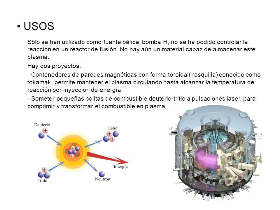 USOS Sölo se han utilizado como fuente bélica, bomba H, no se ha podido controlar la reacción en un reactor de fusión.