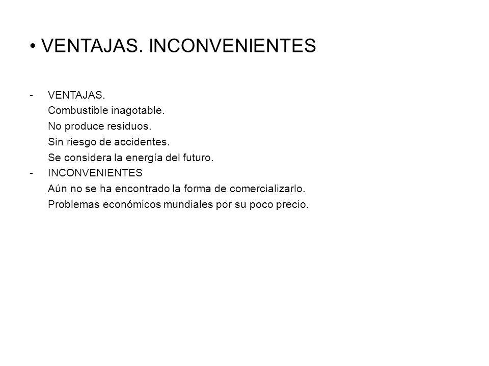 VENTAJAS.INCONVENIENTES -VENTAJAS. Combustible inagotable.