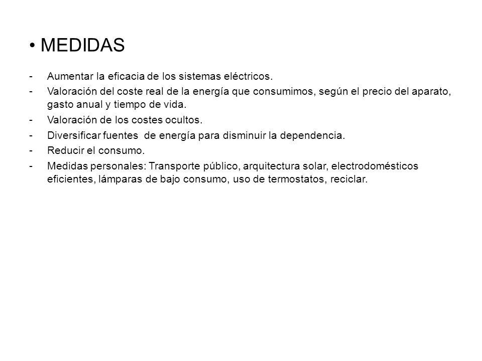 MEDIDAS -Aumentar la eficacia de los sistemas eléctricos.