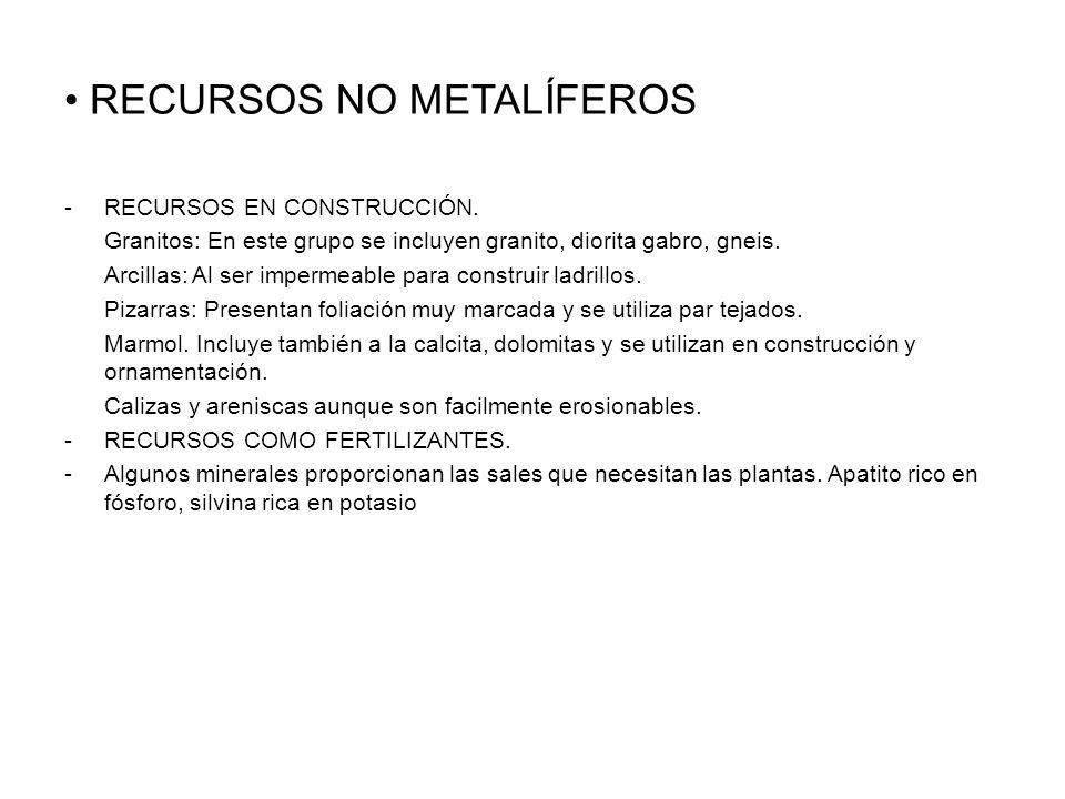RECURSOS NO METALÍFEROS -RECURSOS EN CONSTRUCCIÓN.