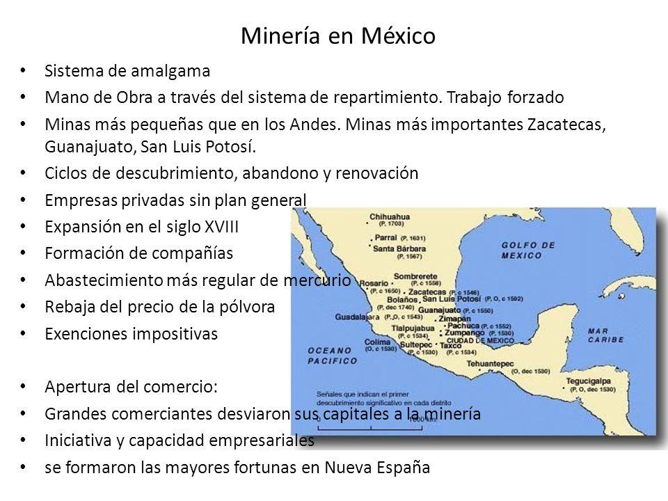 Minería en México Sistema de amalgama Mano de Obra a través del sistema de repartimiento. Trabajo forzado Minas más pequeñas que en los Andes. Minas m