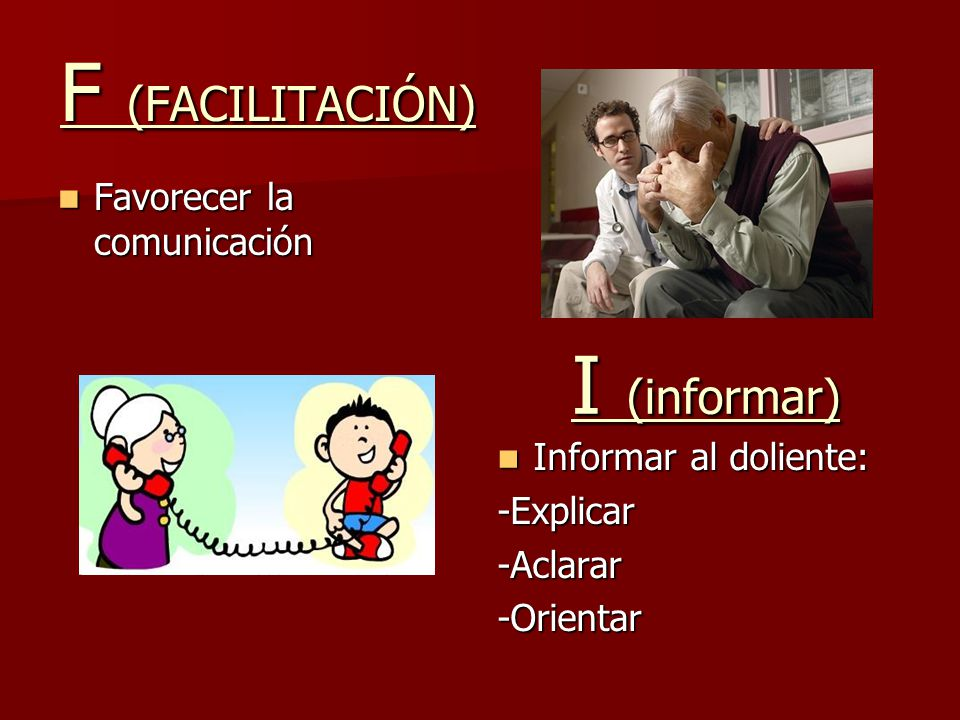 F (FACILITACIÓN) Favorecer la comunicación Favorecer la comunicación Informar al doliente: Informar al doliente:-Explicar-Aclarar-Orientar I (informar