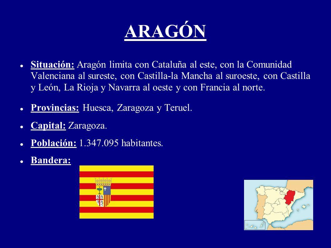 ARAGÓN Situación: Aragón limita con Cataluña al este, con la Comunidad Valenciana al sureste, con Castilla-la Mancha al suroeste, con Castilla y León,