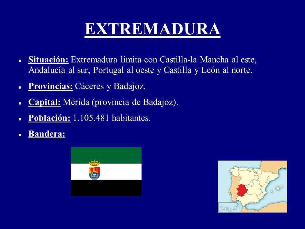 EXTREMADURA Situación: Extremadura limita con Castilla-la Mancha al este, Andalucía al sur, Portugal al oeste y Castilla y León al norte. Provincias: