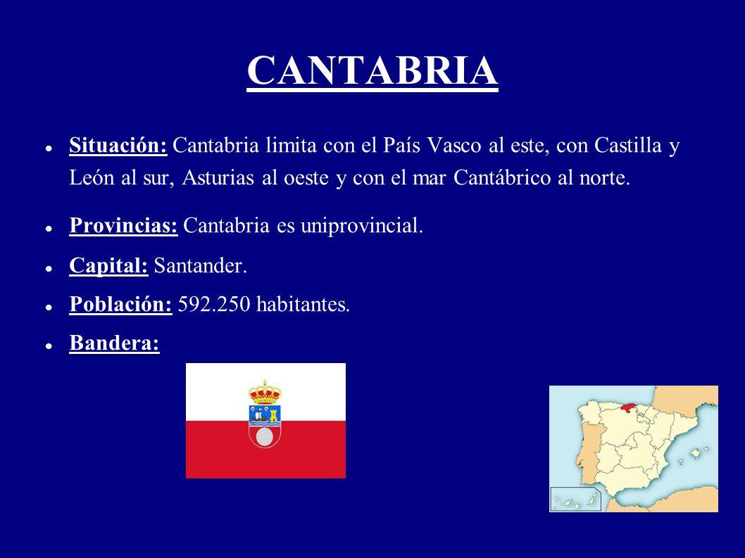 CANTABRIA Situación: Cantabria limita con el País Vasco al este, con Castilla y León al sur, Asturias al oeste y con el mar Cantábrico al norte. Provi