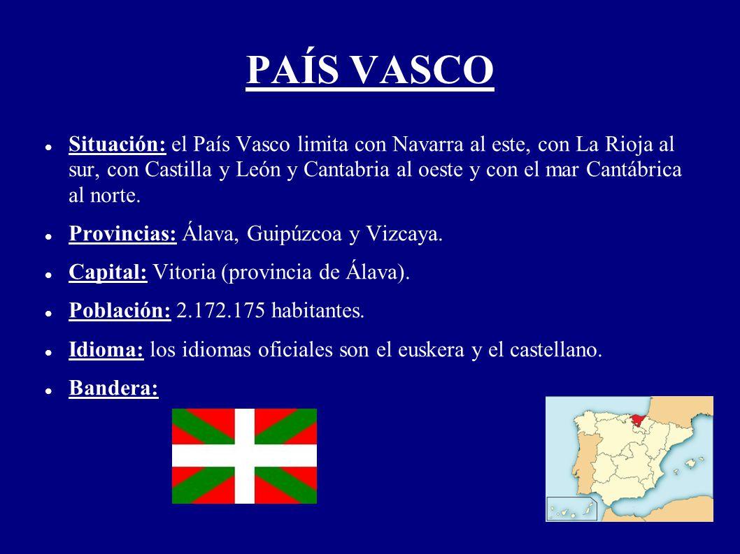 PAÍS VASCO Situación: el País Vasco limita con Navarra al este, con La Rioja al sur, con Castilla y León y Cantabria al oeste y con el mar Cantábrica