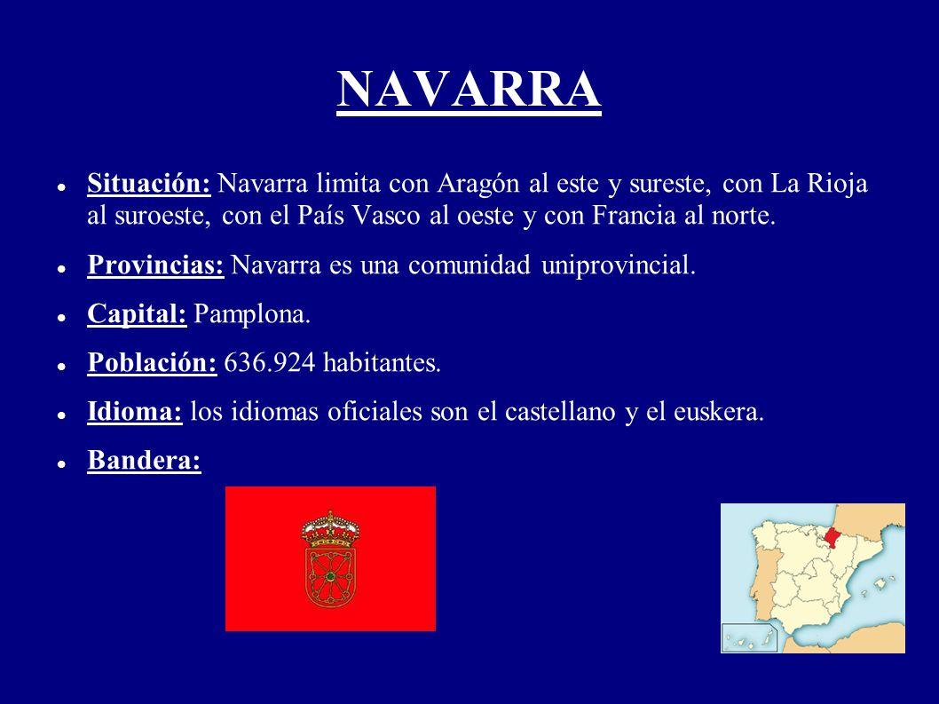 NAVARRA Situación: Navarra limita con Aragón al este y sureste, con La Rioja al suroeste, con el País Vasco al oeste y con Francia al norte. Provincia