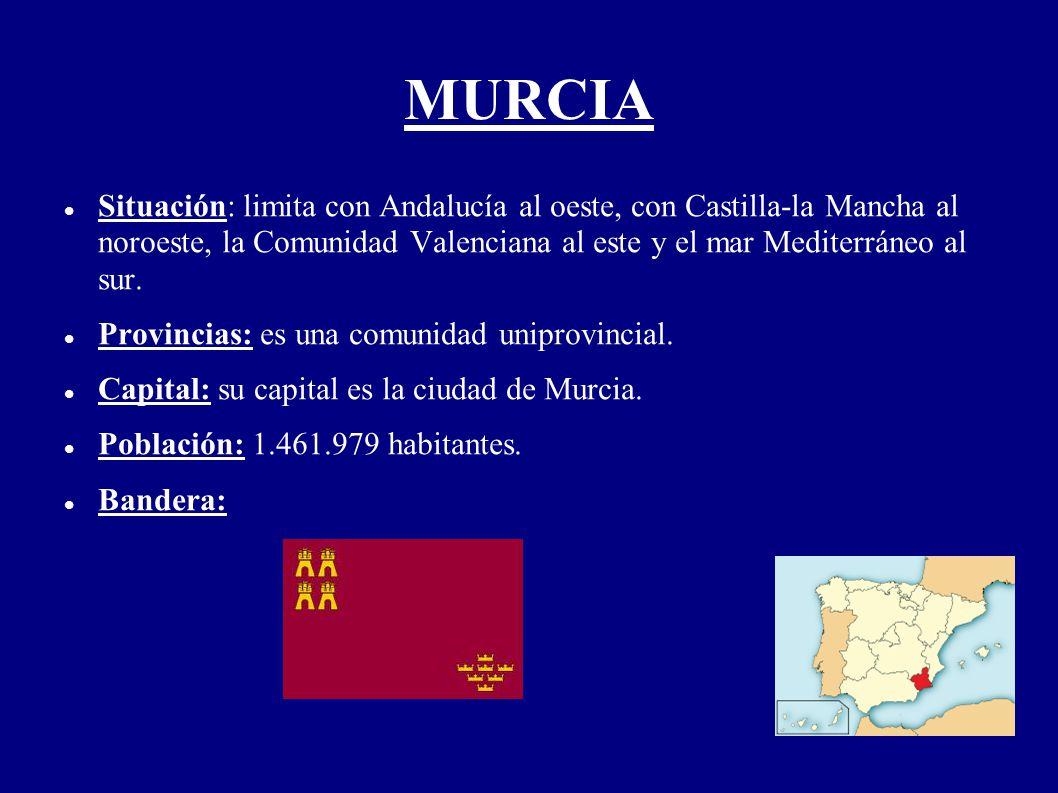 MURCIA Situación: limita con Andalucía al oeste, con Castilla-la Mancha al noroeste, la Comunidad Valenciana al este y el mar Mediterráneo al sur. Pro