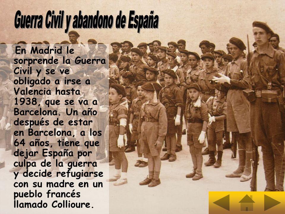 En Madrid le sorprende la Guerra Civil y se ve obligado a irse a Valencia hasta 1938, que se va a Barcelona. Un año después de estar en Barcelona, a l