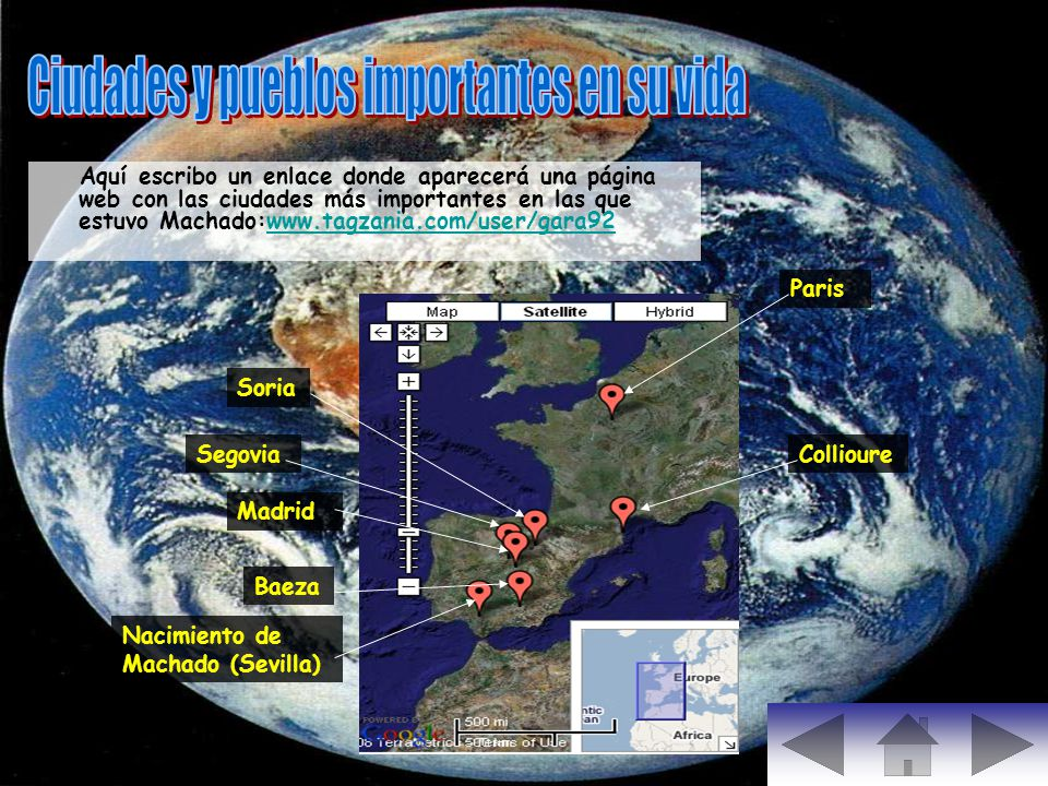 Aquí escribo un enlace donde aparecerá una página web con las ciudades más importantes en las que estuvo Machado:www.tagzania.com/user/gara92www.tagza