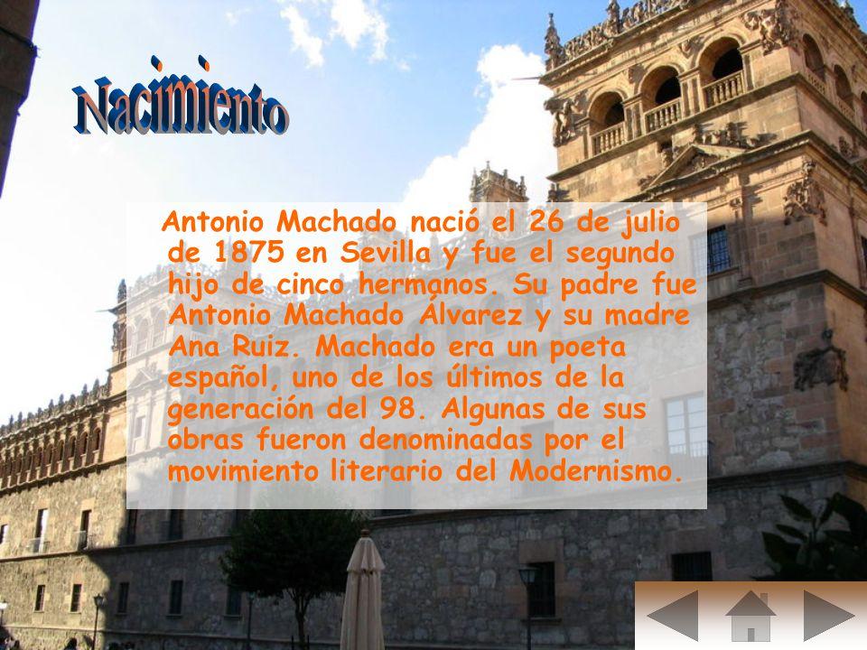 Antonio Machado nació el 26 de julio de 1875 en Sevilla y fue el segundo hijo de cinco hermanos. Su padre fue Antonio Machado Álvarez y su madre Ana R