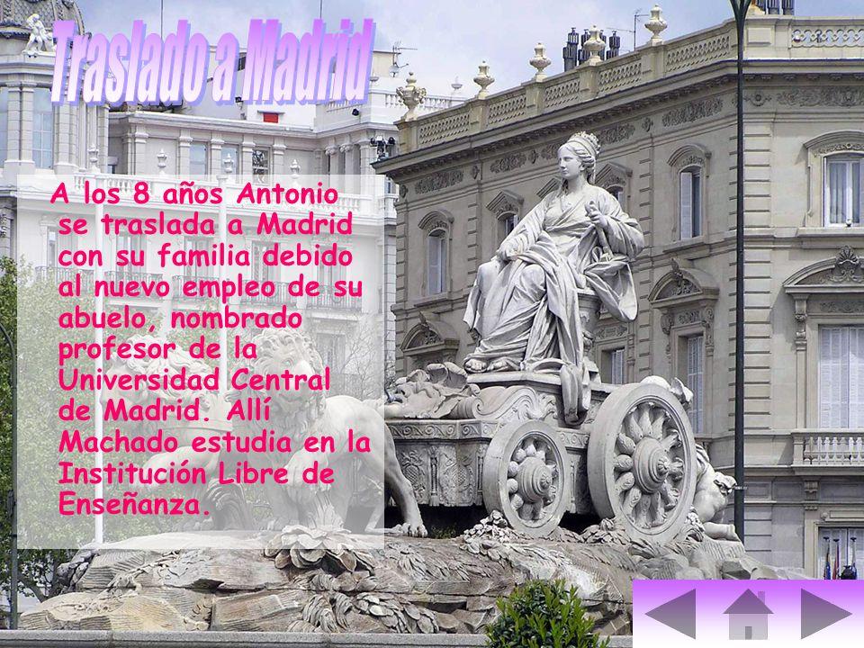 A los 8 años Antonio se traslada a Madrid con su familia debido al nuevo empleo de su abuelo, nombrado profesor de la Universidad Central de Madrid. A