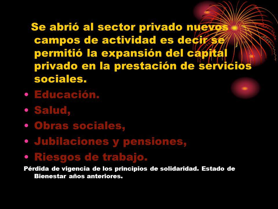 Se abrió al sector privado nuevos campos de actividad es decir se permitió la expansión del capital privado en la prestación de servicios sociales.