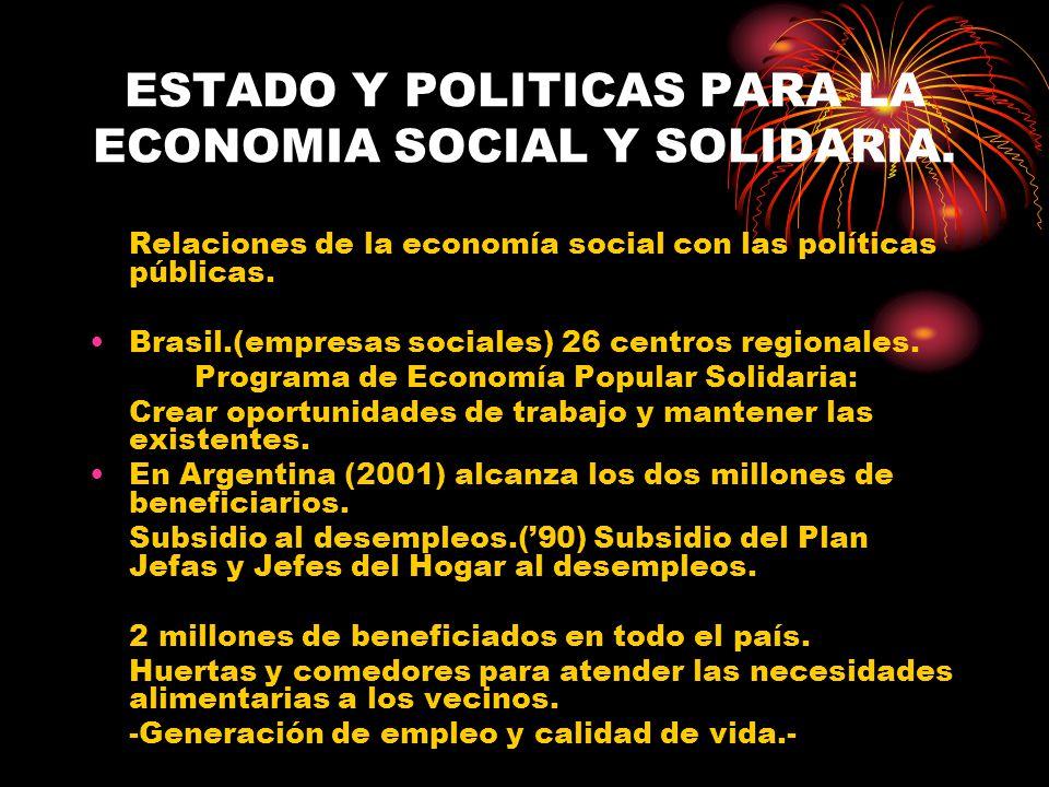 ESTADO Y POLITICAS PARA LA ECONOMIA SOCIAL Y SOLIDARIA. Relaciones de la economía social con las políticas públicas. Brasil.(empresas sociales) 26 cen