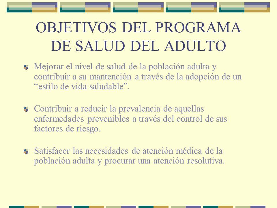 OBJETIVOS DEL PROGRAMA DE SALUD DEL ADULTO Mejorar el nivel de salud de la población adulta y contribuir a su mantención a través de la adopción de un estilo de vida saludable.
