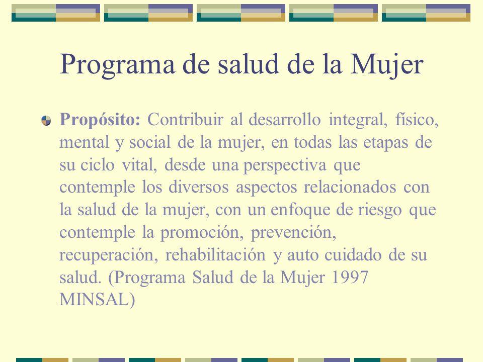 Programa de salud de la Mujer Propósito: Contribuir al desarrollo integral, físico, mental y social de la mujer, en todas las etapas de su ciclo vital