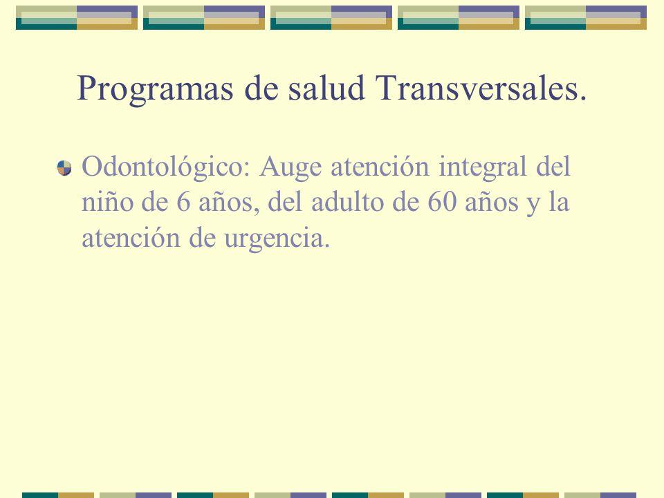 Programas de salud Transversales. Odontológico: Auge atención integral del niño de 6 años, del adulto de 60 años y la atención de urgencia.