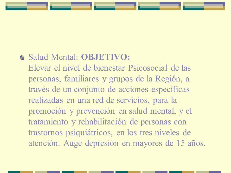Salud Mental: OBJETIVO: Elevar el nivel de bienestar Psicosocial de las personas, familiares y grupos de la Región, a través de un conjunto de accione