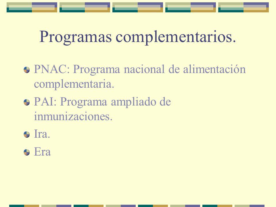Programas complementarios.PNAC: Programa nacional de alimentación complementaria.