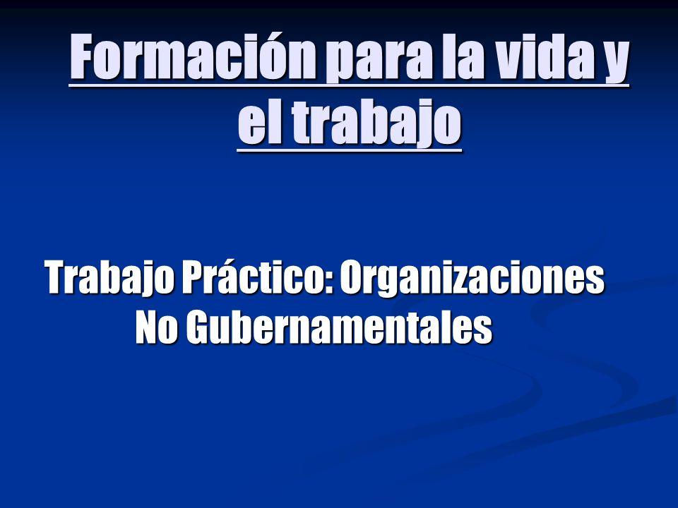 Formación para la vida y el trabajo Trabajo Práctico: Organizaciones No Gubernamentales Trabajo Práctico: Organizaciones No Gubernamentales