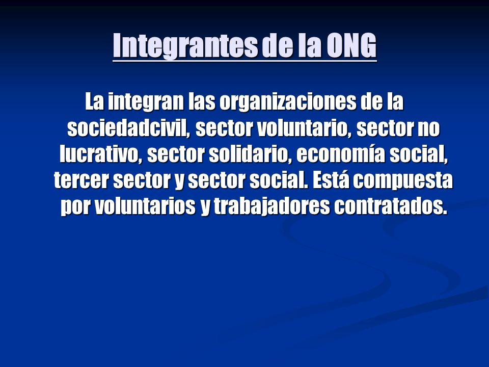 Organización de la ONG En un sentido mas amplio se dice que es una Organización sin ánimo de lucro.