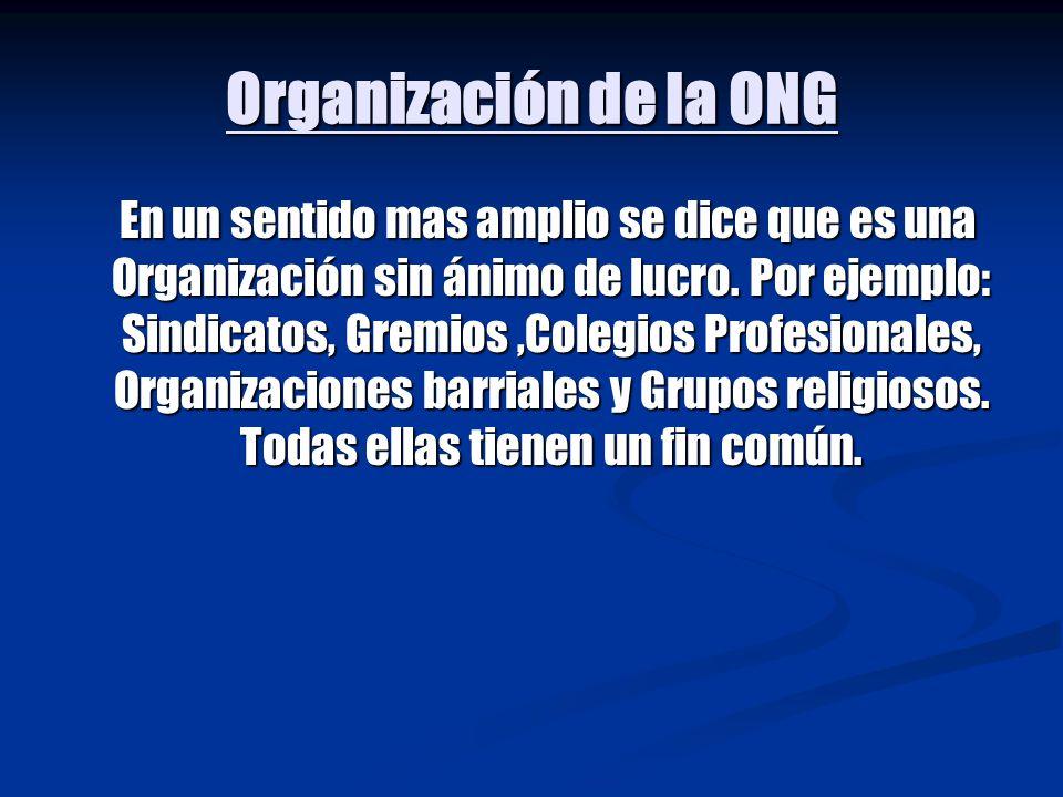 Organización de la ONG En un sentido mas amplio se dice que es una Organización sin ánimo de lucro. Por ejemplo: Sindicatos, Gremios,Colegios Profesio