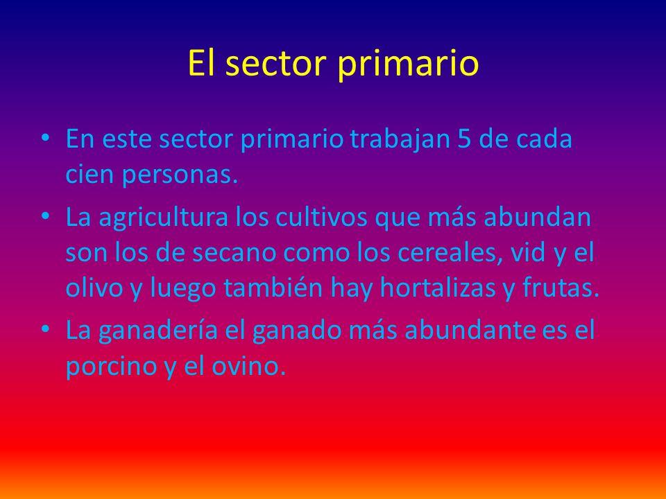 El sector primario En este sector primario trabajan 5 de cada cien personas. La agricultura los cultivos que más abundan son los de secano como los ce
