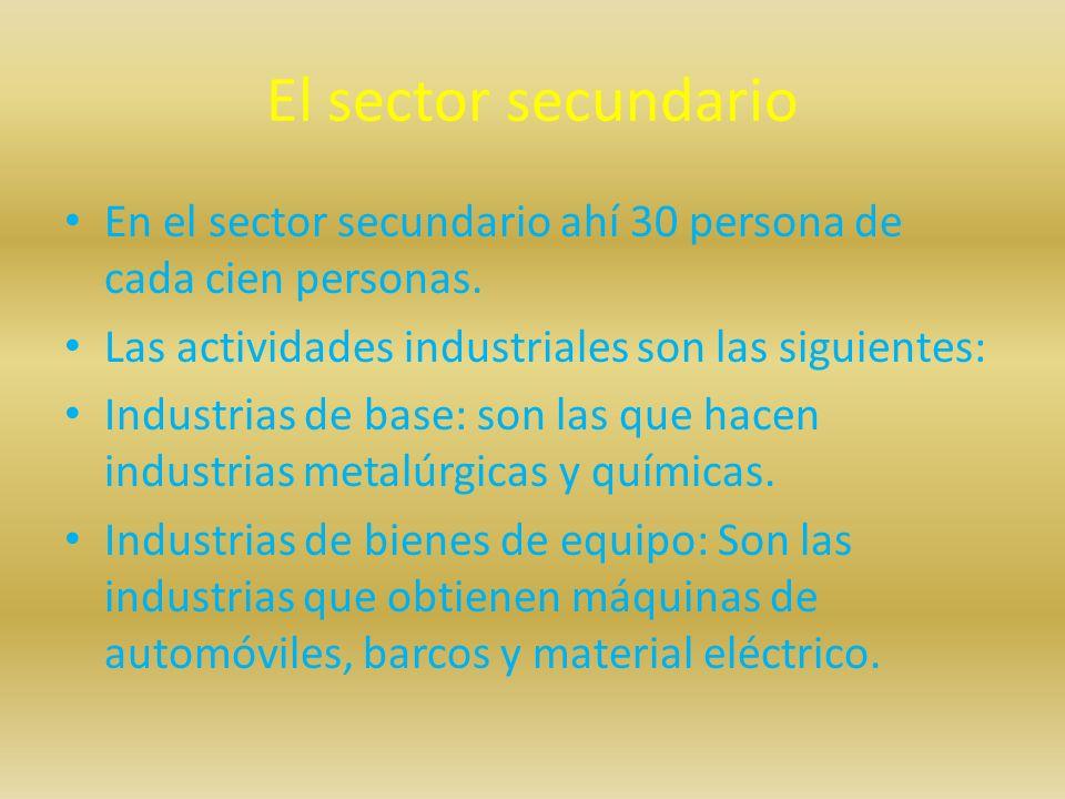 El sector secundario En el sector secundario ahí 30 persona de cada cien personas. Las actividades industriales son las siguientes: Industrias de base