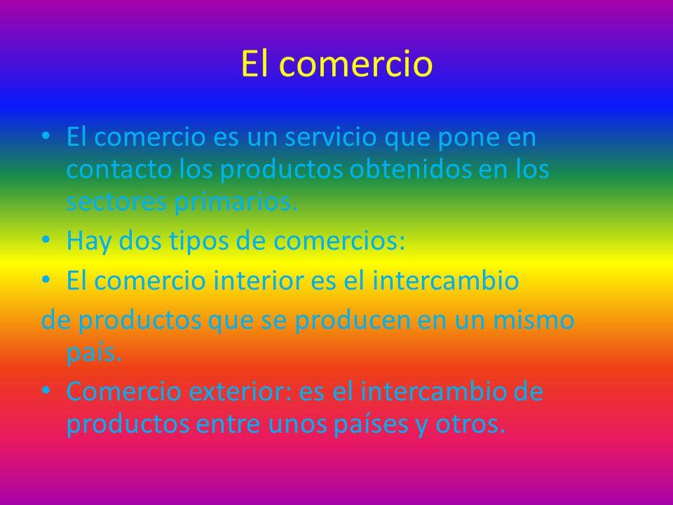 El comercio El comercio es un servicio que pone en contacto los productos obtenidos en los sectores primarios. Hay dos tipos de comercios: El comercio