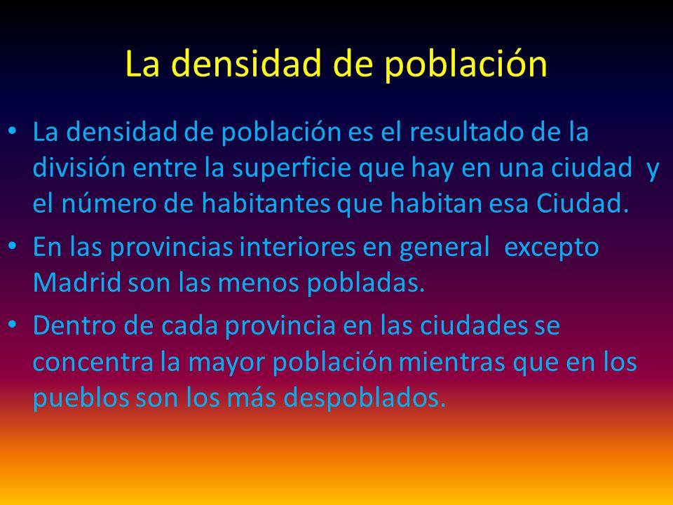 La densidad de población La densidad de población es el resultado de la división entre la superficie que hay en una ciudad y el número de habitantes que habitan esa Ciudad.