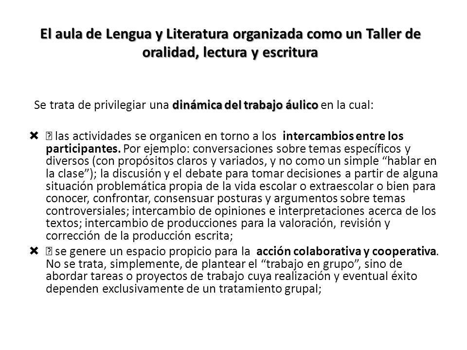 El aula de Lengua y Literatura organizada como un Taller de oralidad, lectura y escritura dinámica del trabajo áulico Se trata de privilegiar una diná