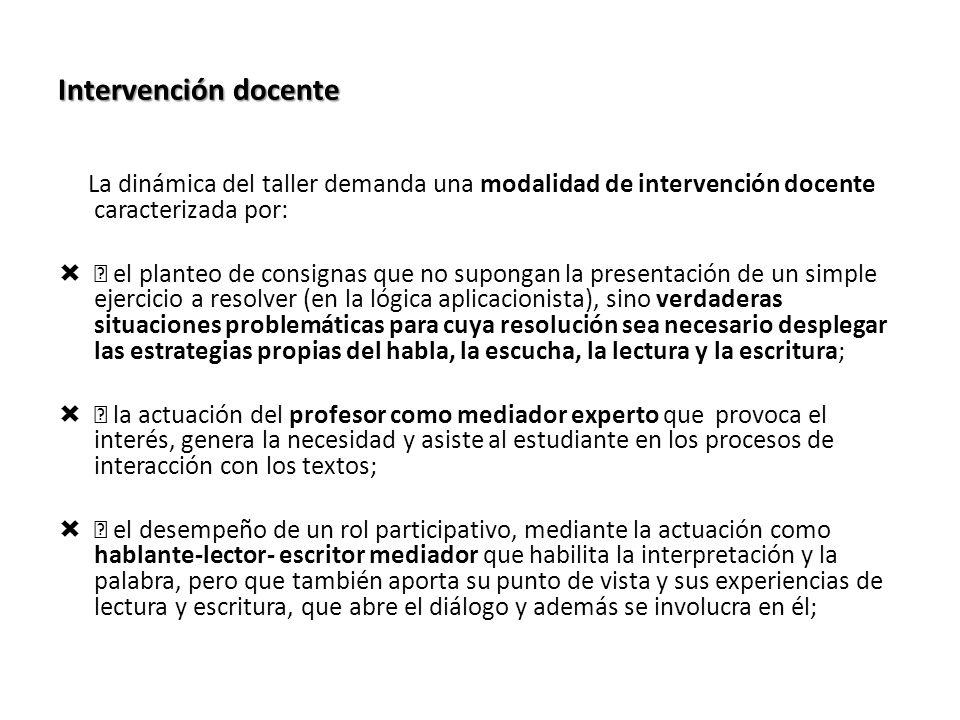 Intervención docente La dinámica del taller demanda una modalidad de intervención docente caracterizada por: ƒ el planteo de consignas que no supongan