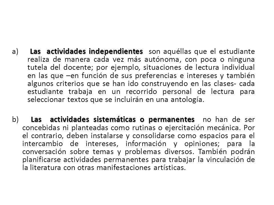 Las actividades independientes a) Las actividades independientes son aquéllas que el estudiante realiza de manera cada vez más autónoma, con poca o ni