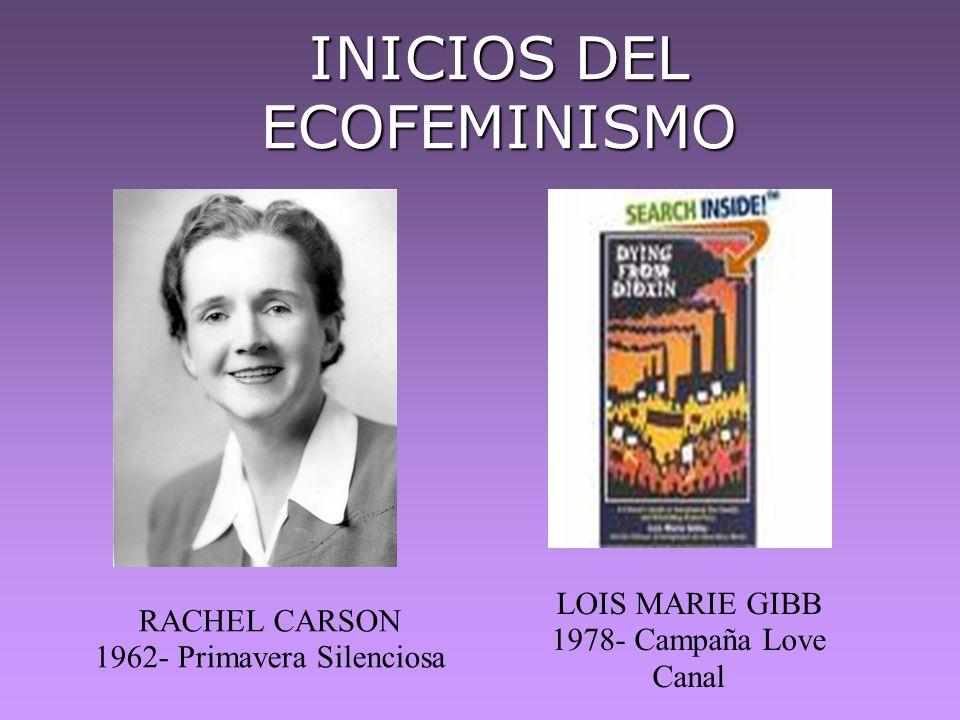 INICIOS DEL ECOFEMINISMO RACHEL CARSON 1962- Primavera Silenciosa LOIS MARIE GIBB 1978- Campaña Love Canal
