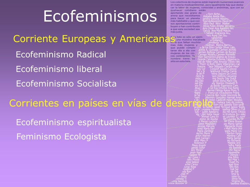 Ecofeminismos Corriente Europeas y Americanas Ecofeminismo Radical Ecofeminismo liberal Ecofeminismo Socialista Ecofeminismo espiritualista Corrientes