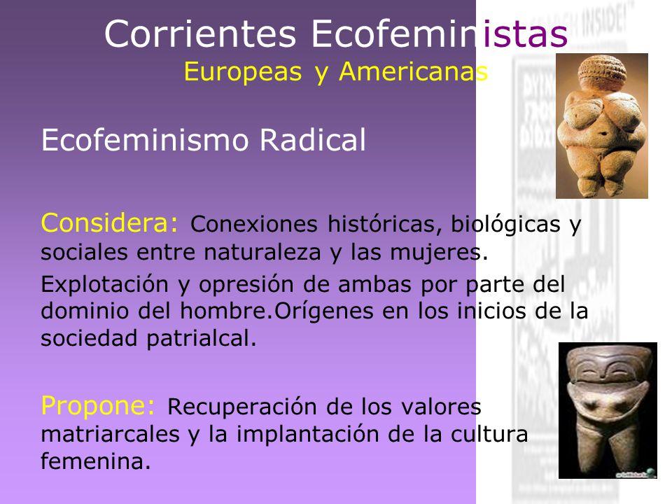 Corrientes Ecofeministas Europeas y Americanas Ecofeminismo Radical Considera: Conexiones históricas, biológicas y sociales entre naturaleza y las muj