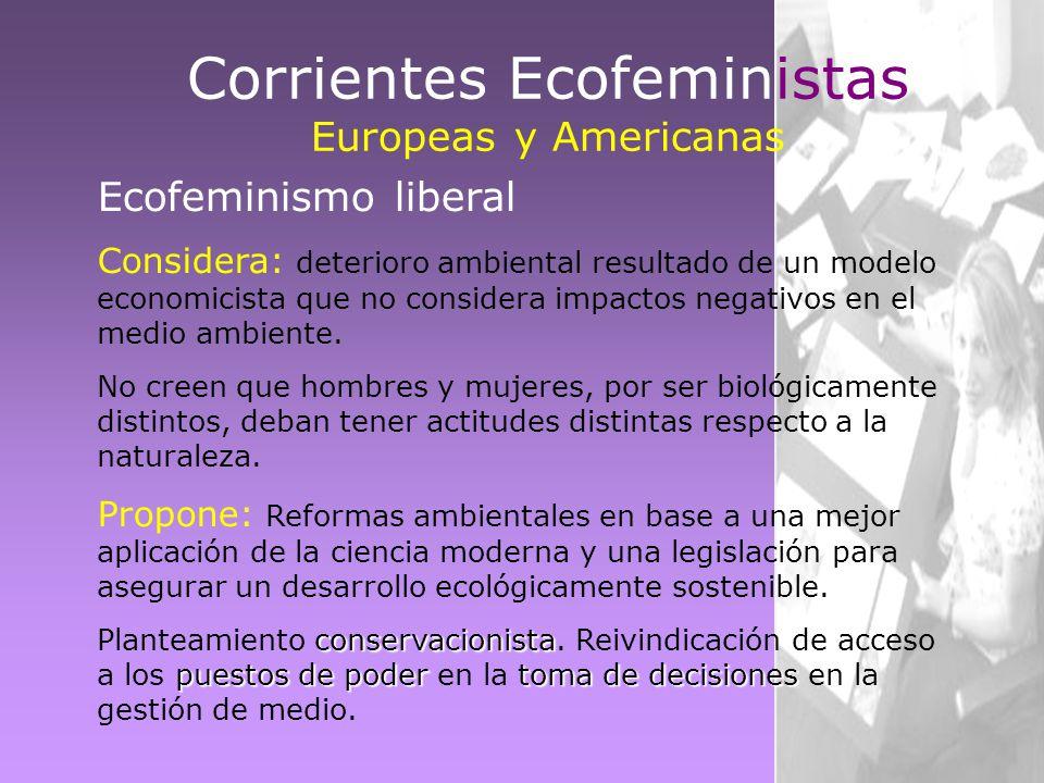 Ecofeminismo liberal Considera: deterioro ambiental resultado de un modelo economicista que no considera impactos negativos en el medio ambiente. No c