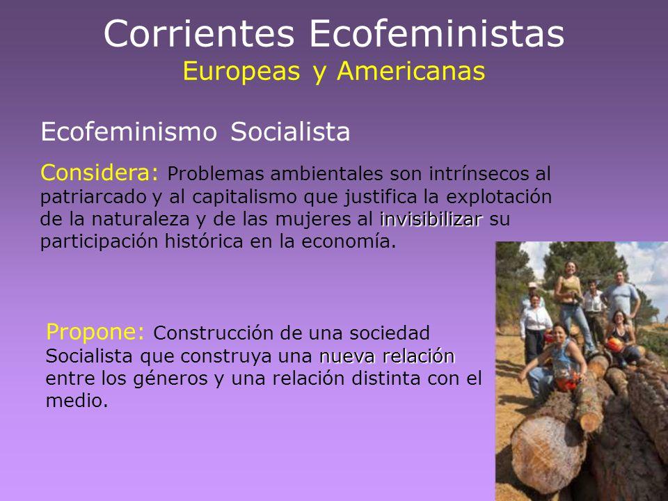Ecofeminismo Socialista invisibilizar Considera: Problemas ambientales son intrínsecos al patriarcado y al capitalismo que justifica la explotación de
