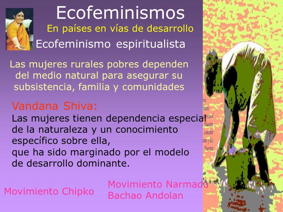 Ecofeminismos En países en vías de desarrollo Las mujeres rurales pobres dependen del medio natural para asegurar su subsistencia, familia y comunidad