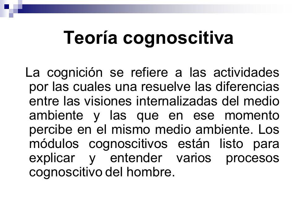 Teoría cognoscitiva La cognición se refiere a las actividades por las cuales una resuelve las diferencias entre las visiones internalizadas del medio ambiente y las que en ese momento percibe en el mismo medio ambiente.